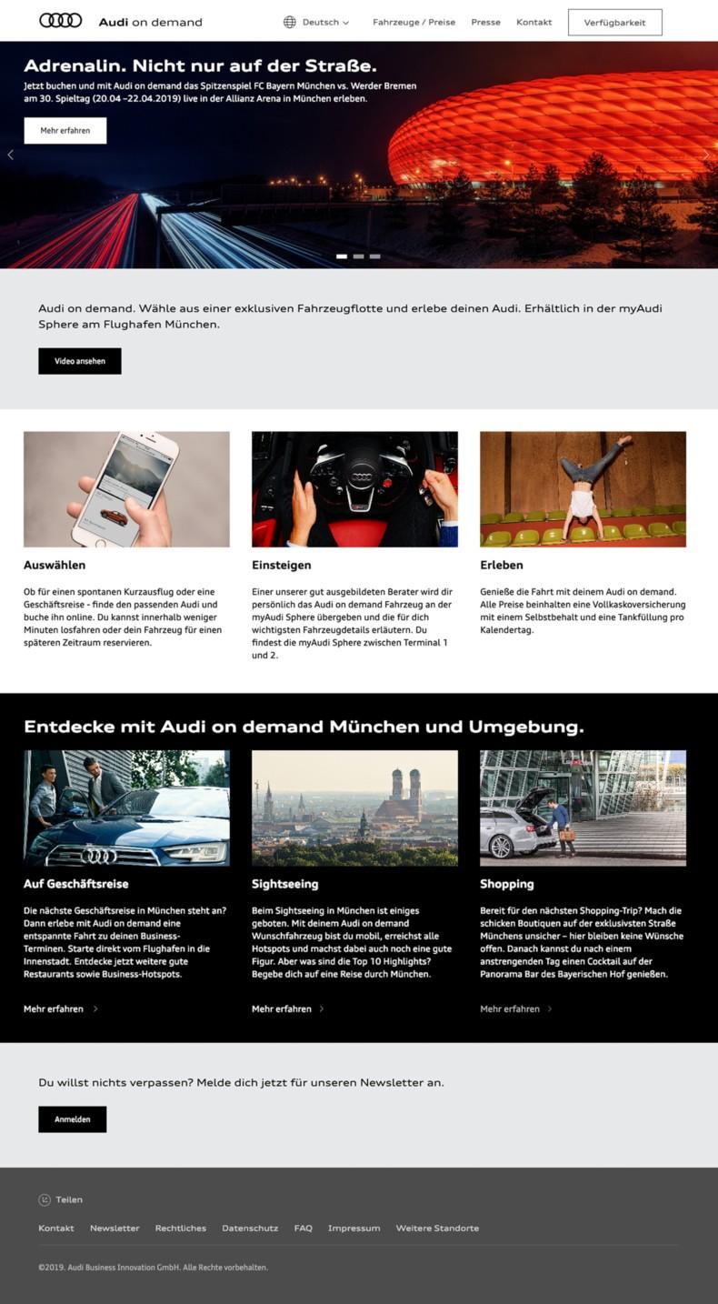 Website Audi on demand
