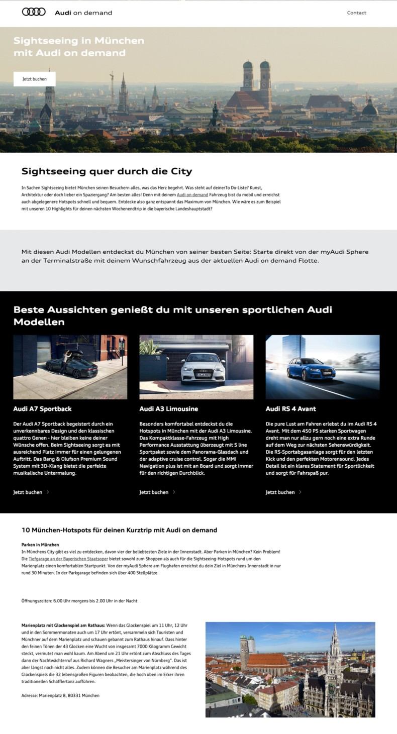 Website Audi on demand